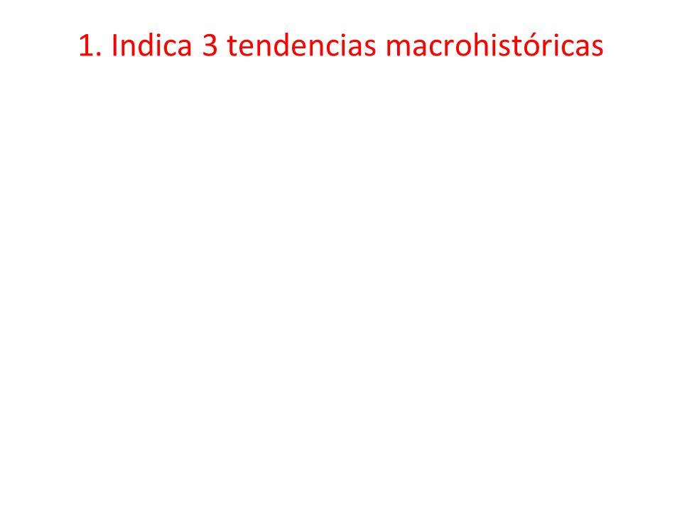 1. Indica 3 tendencias macrohistóricas