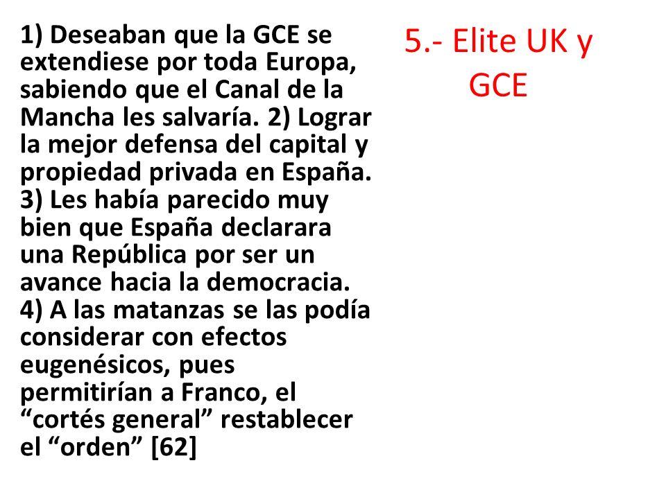 5.- Elite UK y GCE 1) Deseaban que la GCE se extendiese por toda Europa, sabiendo que el Canal de la Mancha les salvaría. 2) Lograr la mejor defensa d