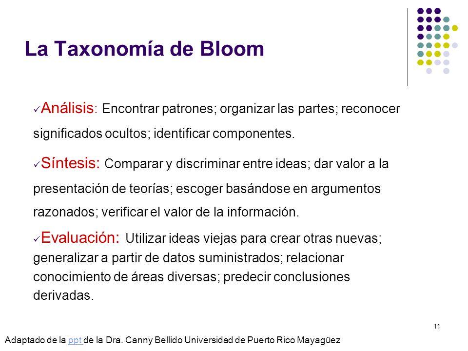 © Isabel Pérez11 La Taxonomía de Bloom Análisis : Encontrar patrones; organizar las partes; reconocer significados ocultos; identificar componentes. S