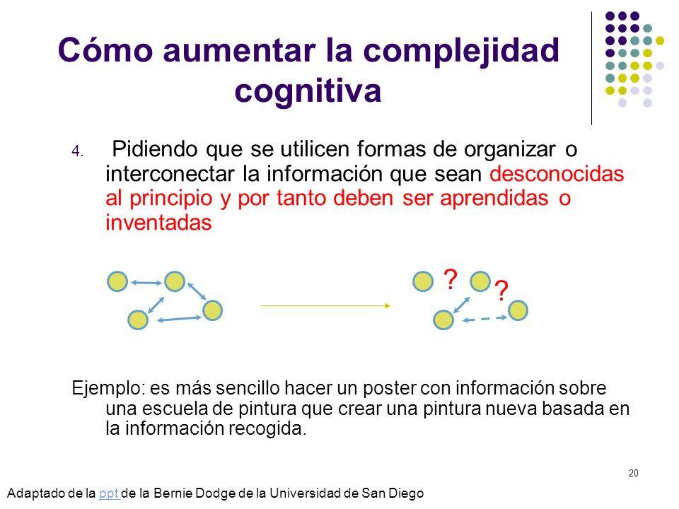 © Isabel Pérez20 Cómo aumentar la complejidad cognitiva 4. Pidiendo que se utilicen formas de organizar o interconectar la información que sean descon