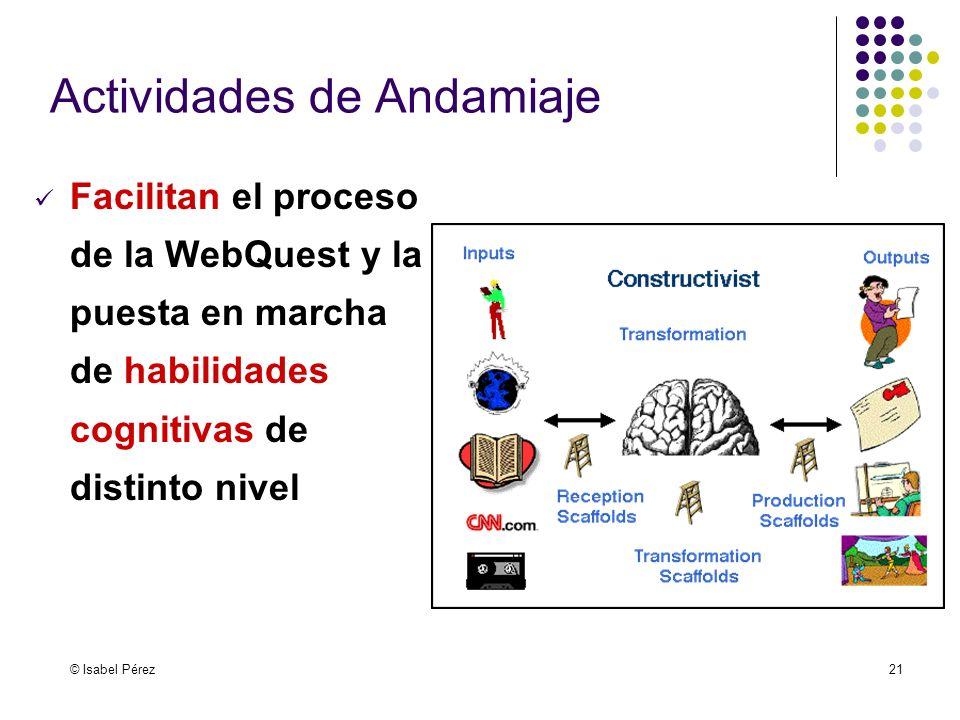 © Isabel Pérez21 Actividades de Andamiaje Facilitan el proceso de la WebQuest y la puesta en marcha de habilidades cognitivas de distinto nivel