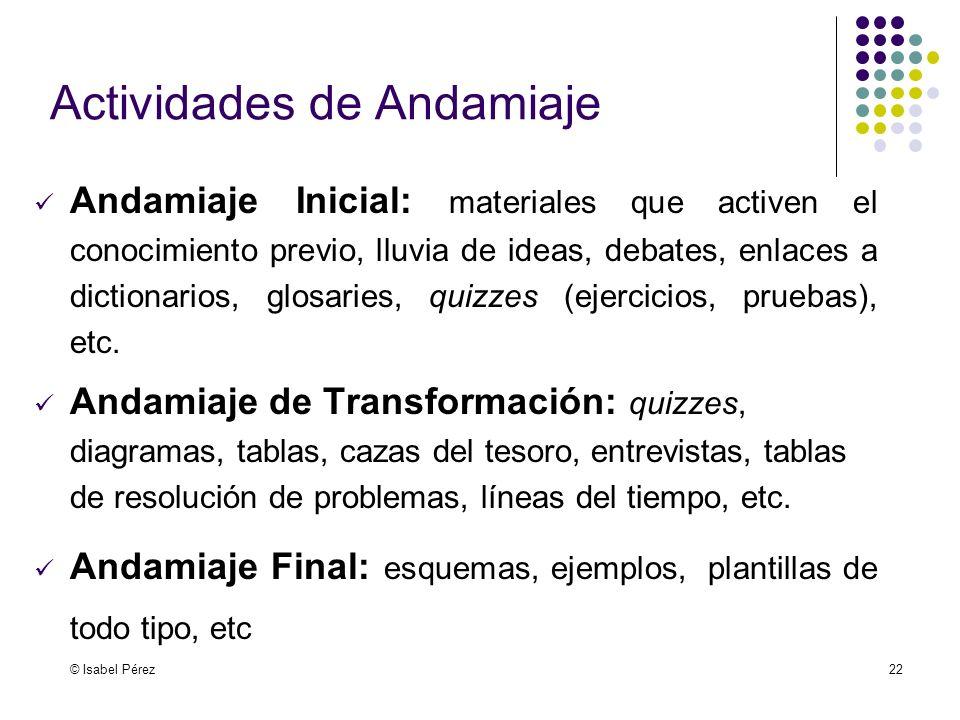 © Isabel Pérez22 Actividades de Andamiaje Andamiaje Inicial: materiales que activen el conocimiento previo, lluvia de ideas, debates, enlaces a dictio
