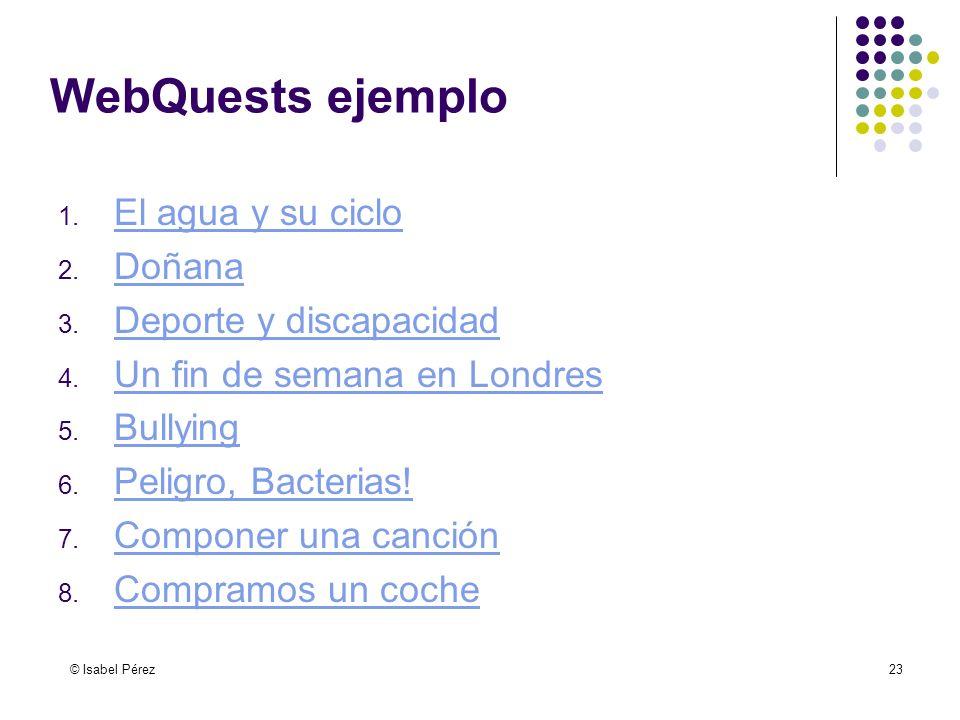 © Isabel Pérez23 WebQuests ejemplo 1. El agua y su ciclo El agua y su ciclo 2. Doñana Doñana 3. Deporte y discapacidad Deporte y discapacidad 4. Un fi