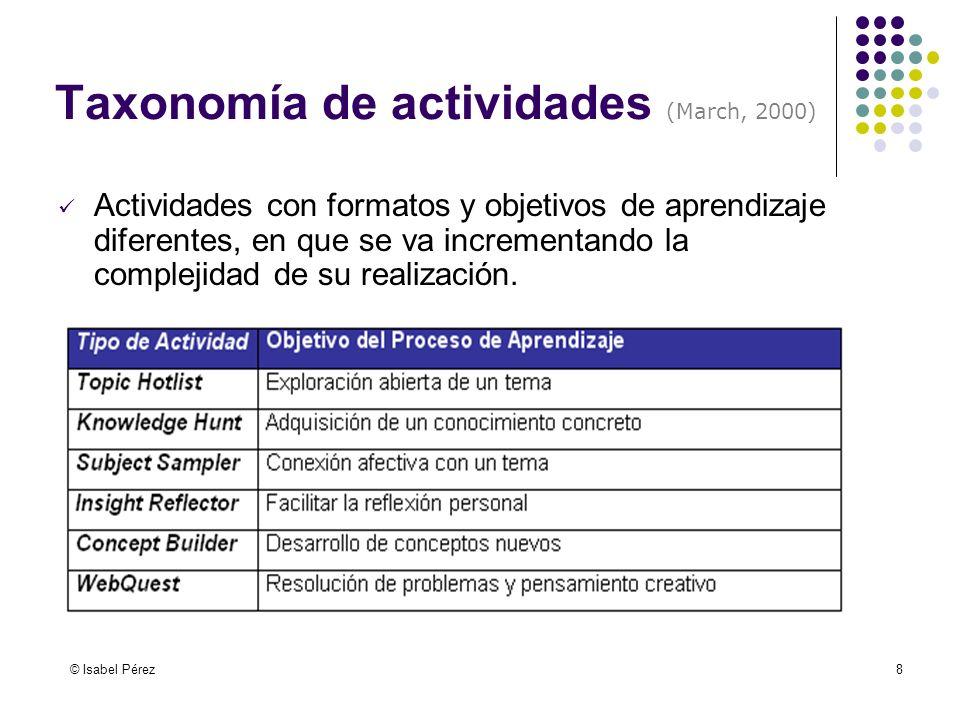 © Isabel Pérez8 Taxonomía de actividades (March, 2000) Actividades con formatos y objetivos de aprendizaje diferentes, en que se va incrementando la c