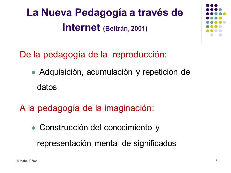 © Isabel Pérez6 De la pedagogía de la reproducción: Adquisición, acumulación y repetición de datos A la pedagogía de la imaginación: Construcción del