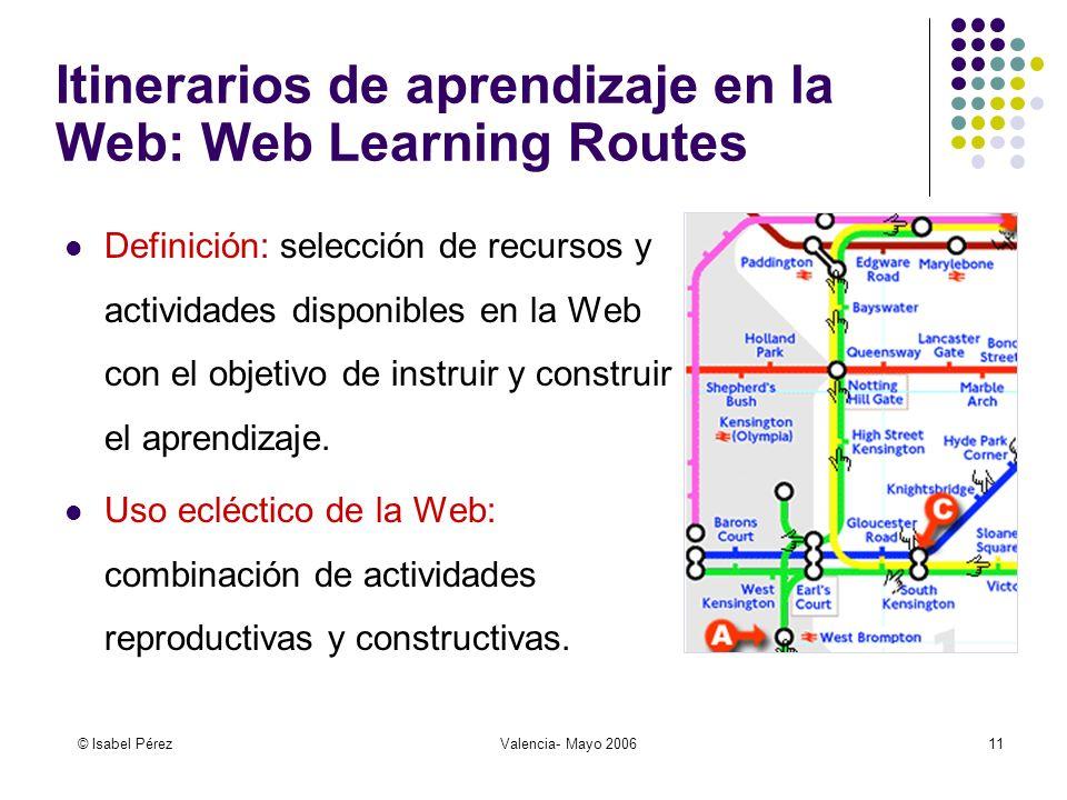 © Isabel PérezValencia- Mayo 200611 Itinerarios de aprendizaje en la Web: Web Learning Routes Definición: selección de recursos y actividades disponibles en la Web con el objetivo de instruir y construir el aprendizaje.