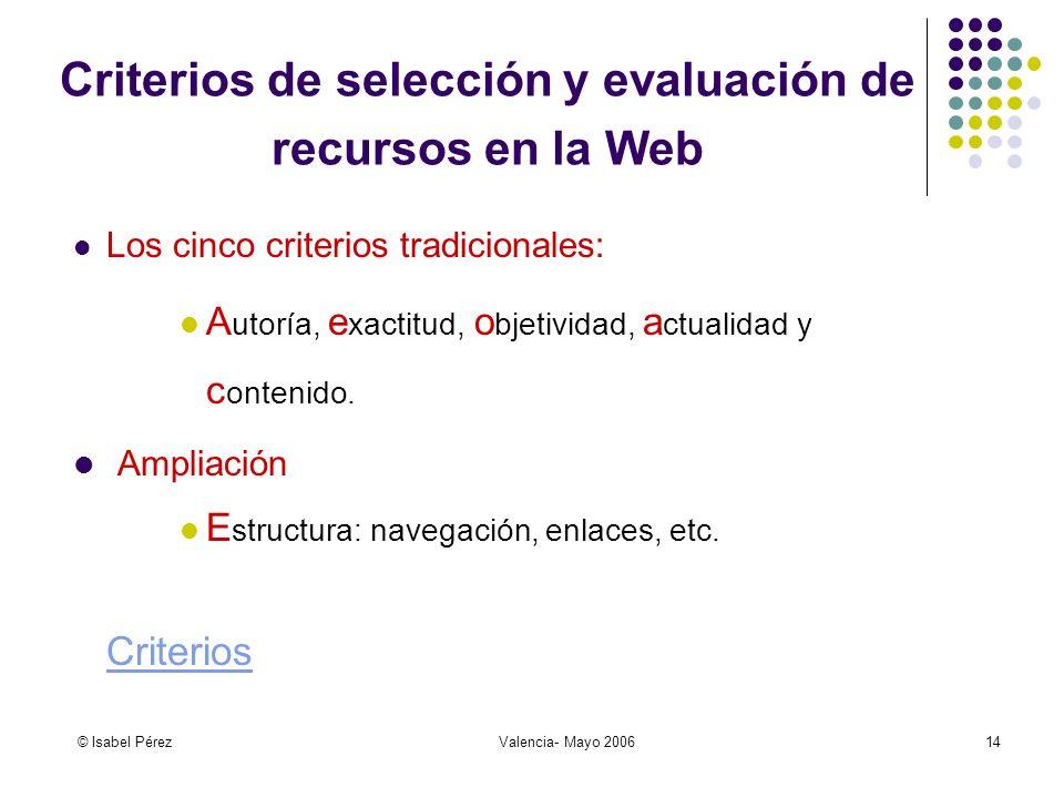 © Isabel PérezValencia- Mayo 200614 Criterios de selección y evaluación de recursos en la Web Los cinco criterios tradicionales: A utoría, e xactitud, o bjetividad, a ctualidad y c ontenido.