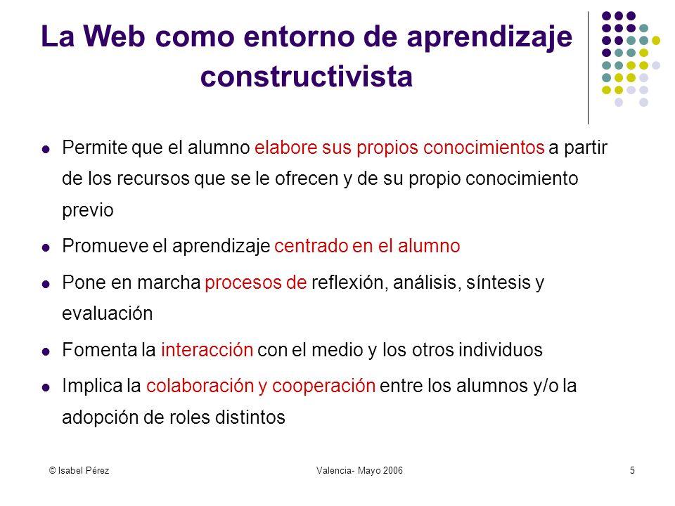 © Isabel PérezValencia- Mayo 20066 Los recursos de la Web Ventajas Acceso inmediato y fácil Gran cantidad de materiales específicos y de información actualizada Están dentro de un entorno auténtico y contextualizado Motivación