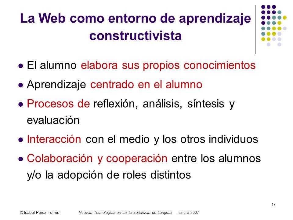 © Isabel Pérez TorresNuevas Tecnologías en las Enseñanzas de Lenguas –Enero 2007 17 El alumno elabora sus propios conocimientos Aprendizaje centrado e