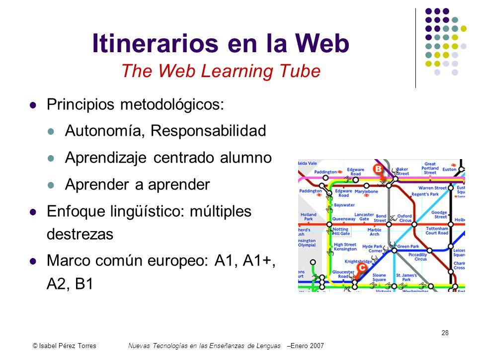 © Isabel Pérez TorresNuevas Tecnologías en las Enseñanzas de Lenguas –Enero 2007 28 Itinerarios en la Web The Web Learning Tube Principios metodológic