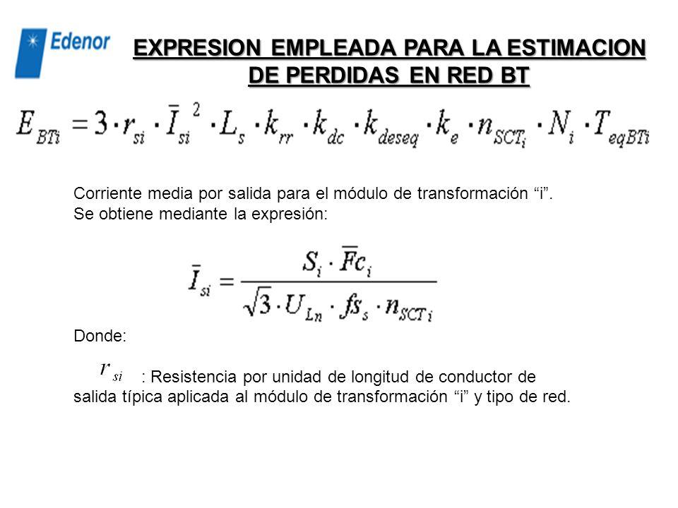 Factor por diferencias de carga entre salidas Representa el aumento de pérdidas por la imposibilidad de mantener todas las salidas igualmente cargadas
