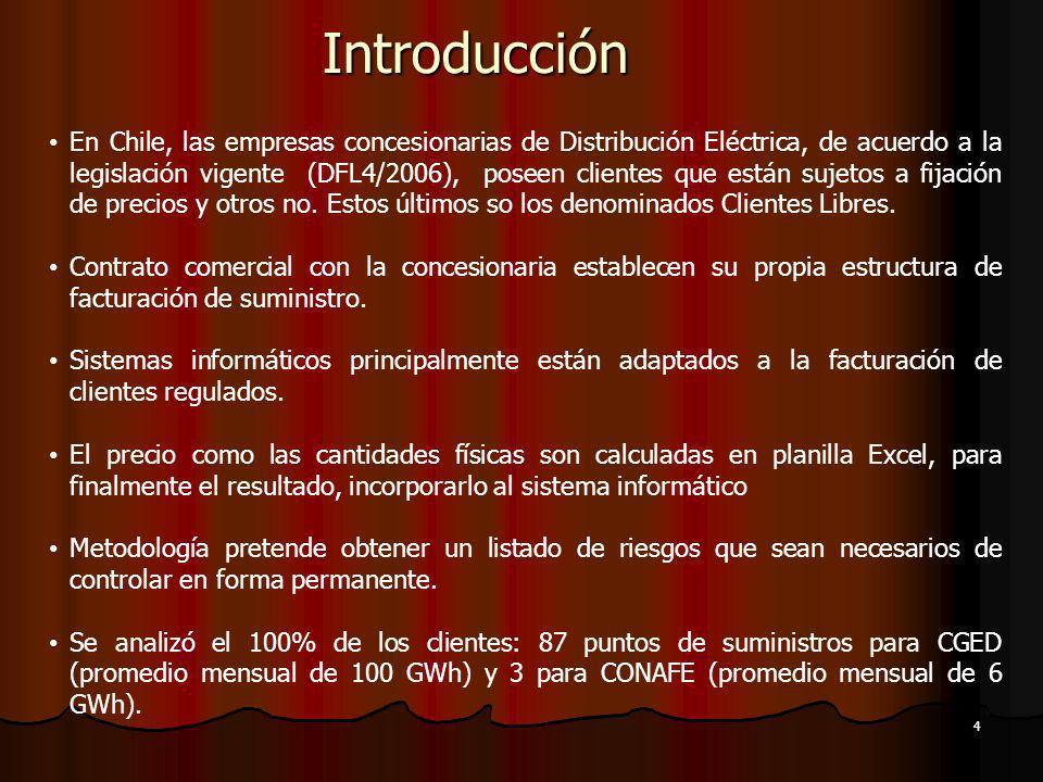 En Chile, las empresas concesionarias de Distribución Eléctrica, de acuerdo a la legislación vigente (DFL4/2006), poseen clientes que están sujetos a