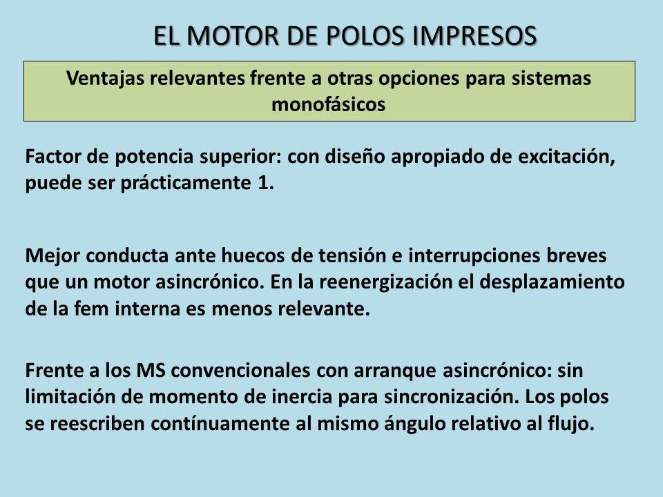 EL MOTOR DE POLOS IMPRESOS Ventajas relevantes frente a otras opciones para sistemas monofásicos Factor de potencia superior: con diseño apropiado de