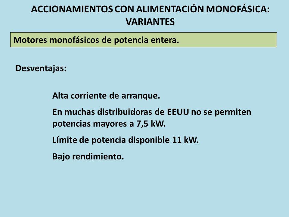 ACCIONAMIENTOS CON ALIMENTACIÓN MONOFÁSICA: VARIANTES Motores monofásicos de potencia entera. Desventajas: Alta corriente de arranque. En muchas distr