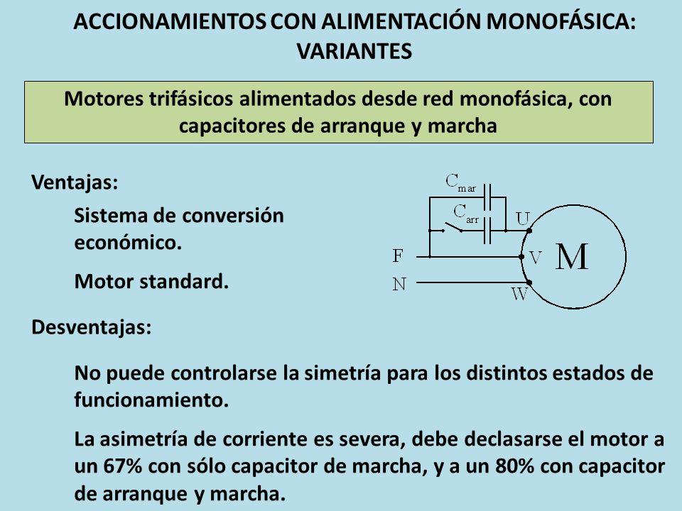 ACCIONAMIENTOS CON ALIMENTACIÓN MONOFÁSICA: VARIANTES Motores trifásicos alimentados desde red monofásica, con capacitores de arranque y marcha Ventaj