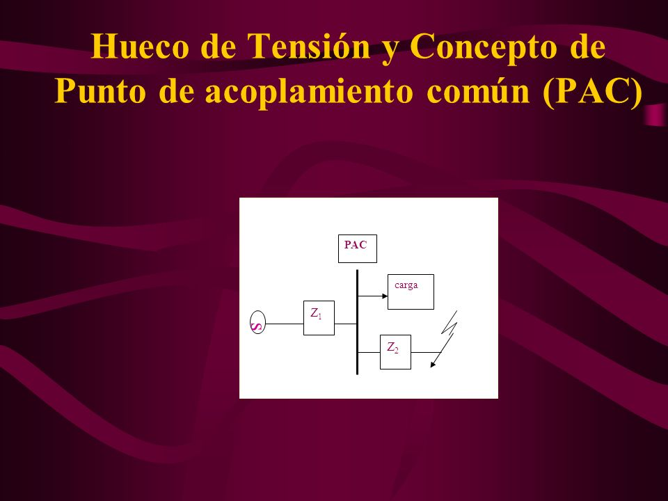 Hueco de Tensión y Concepto de Punto de acoplamiento común (PAC) Z2Z2 Z1Z1 carga PAC s