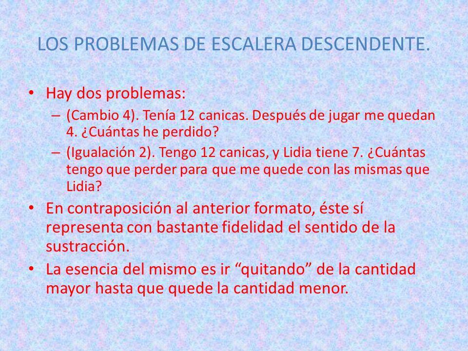 LOS PROBLEMAS DE ESCALERA DESCENDENTE. Hay dos problemas: – (Cambio 4). Tenía 12 canicas. Después de jugar me quedan 4. ¿Cuántas he perdido? – (Iguala