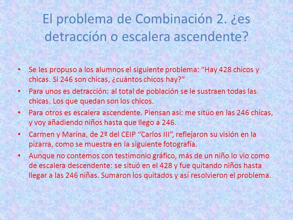 El problema de Combinación 2. ¿es detracción o escalera ascendente? Se les propuso a los alumnos el siguiente problema: Hay 428 chicos y chicas. Si 24