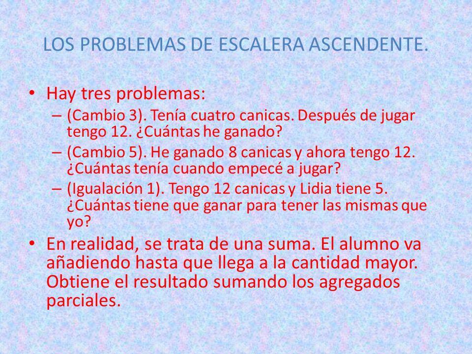 LOS PROBLEMAS DE ESCALERA ASCENDENTE. Hay tres problemas: – (Cambio 3). Tenía cuatro canicas. Después de jugar tengo 12. ¿Cuántas he ganado? – (Cambio