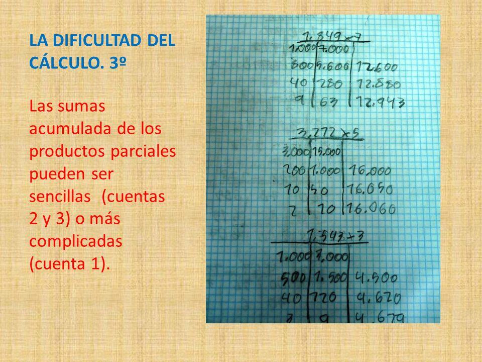 LA DIFICULTAD DEL CÁLCULO. 3º Las sumas acumulada de los productos parciales pueden ser sencillas (cuentas 2 y 3) o más complicadas (cuenta 1).