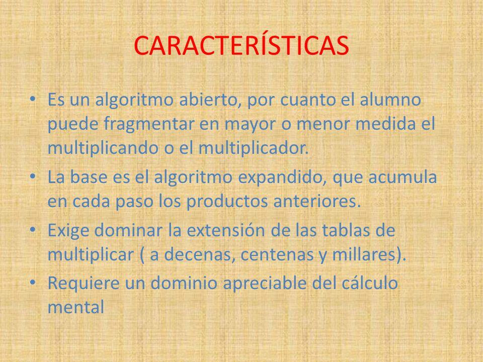 CARACTERÍSTICAS Es un algoritmo abierto, por cuanto el alumno puede fragmentar en mayor o menor medida el multiplicando o el multiplicador. La base es