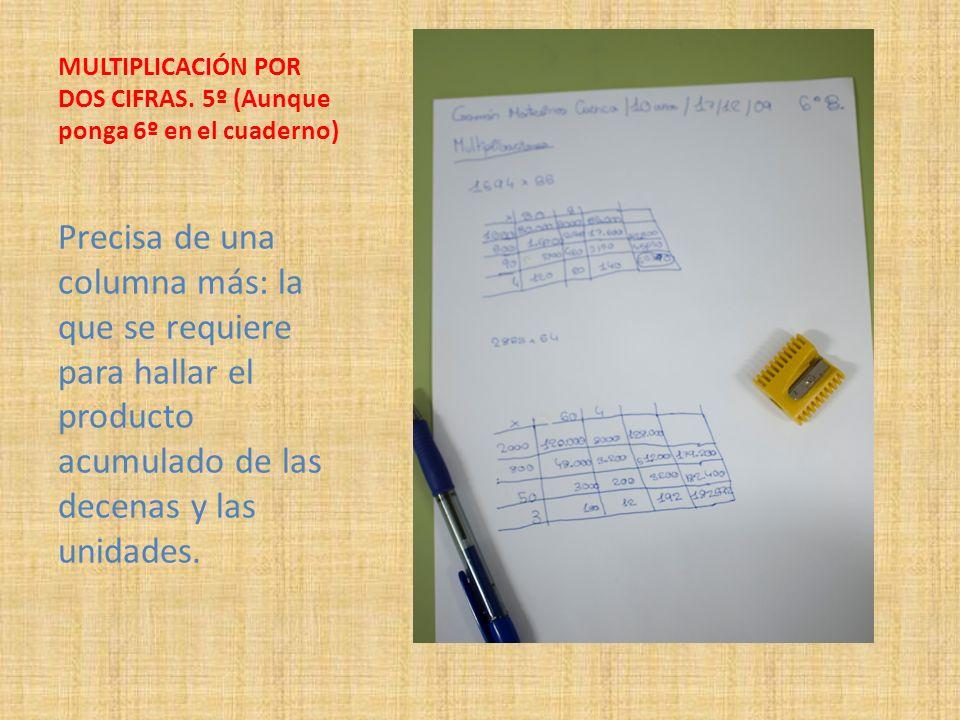 MULTIPLICACIÓN POR DOS CIFRAS. 5º (Aunque ponga 6º en el cuaderno) Precisa de una columna más: la que se requiere para hallar el producto acumulado de