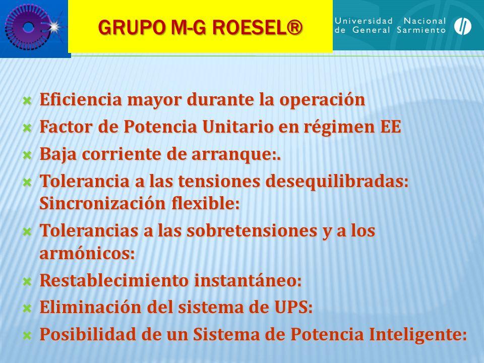 GRUPO M-G ROESEL® Eficiencia mayor durante la operación Eficiencia mayor durante la operación Factor de Potencia Unitario en régimen EE Factor de Pote