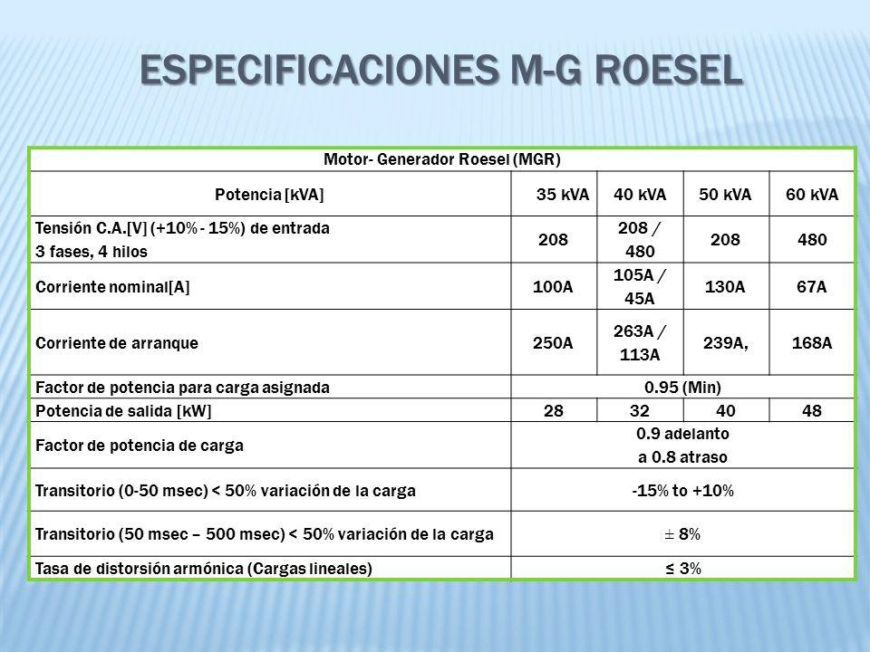 Motor- Generador Roesel (MGR) Potencia [kVA]35 kVA40 kVA50 kVA60 kVA Tensión C.A.[V] (+10% - 15%) de entrada 3 fases, 4 hilos 208 208 / 480 208480 Cor