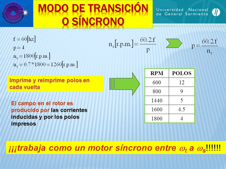 RPMPOLOS 60012 8009 14405 16004.5 18004 Imprime y reimprime polos en cada vuelta El campo en el rotor es producido por las corrientes inducidas y por