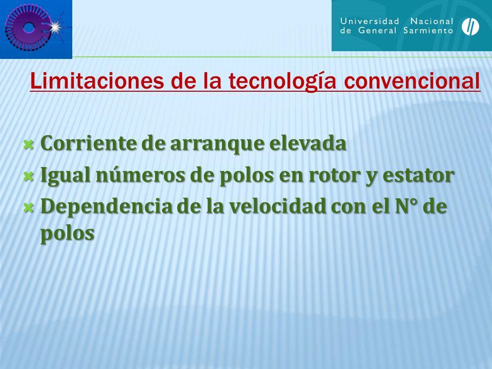 Limitaciones de la tecnología convencional Corriente de arranque elevada Corriente de arranque elevada Igual números de polos en rotor y estator Igual