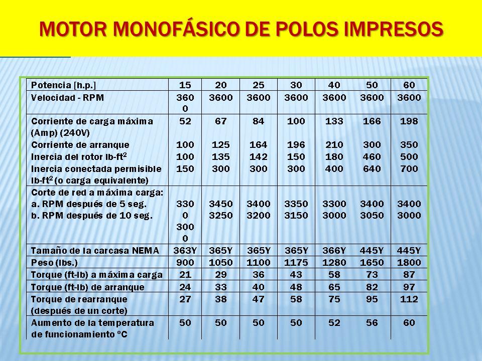 MOTOR MONOFÁSICO DE POLOS IMPRESOS