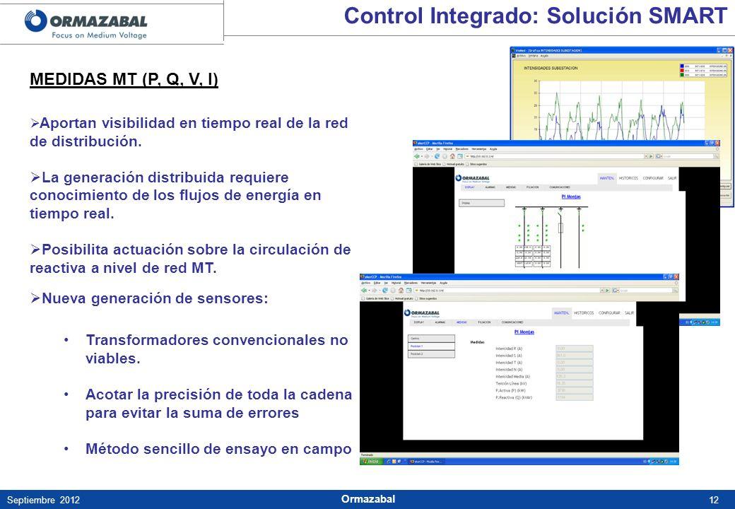 12Septiembre 2012 Ormazabal MEDIDAS MT (P, Q, V, I) Aportan visibilidad en tiempo real de la red de distribución. La generación distribuida requiere c