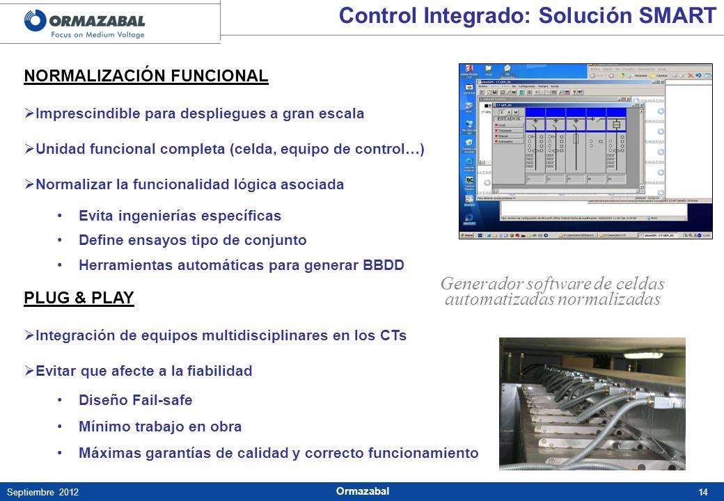 14Septiembre 2012 Ormazabal NORMALIZACIÓN FUNCIONAL Imprescindible para despliegues a gran escala Unidad funcional completa (celda, equipo de control…