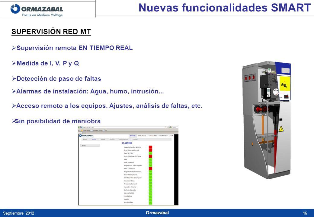 16Septiembre 2012 Ormazabal SUPERVISIÓN RED MT Supervisión remota EN TIEMPO REAL Medida de I, V, P y Q Detección de paso de faltas Alarmas de instalac