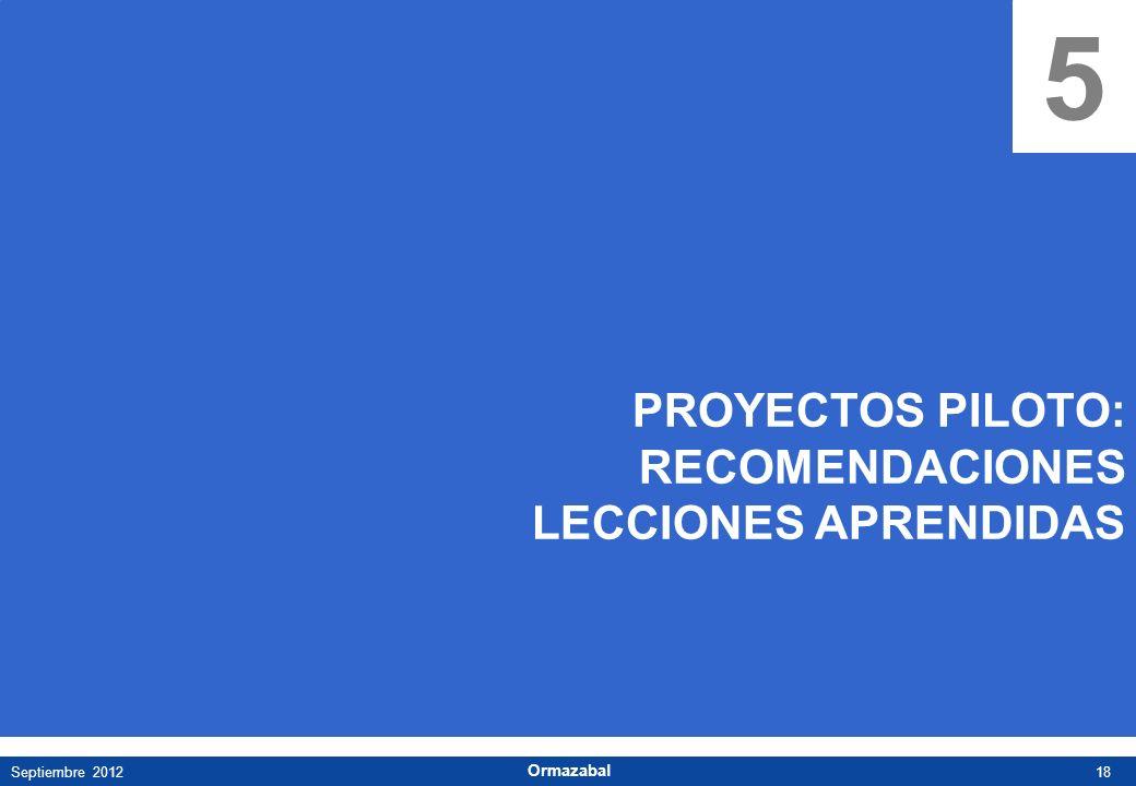 18Septiembre 2012 Ormazabal 5 PROYECTOS PILOTO: RECOMENDACIONES LECCIONES APRENDIDAS