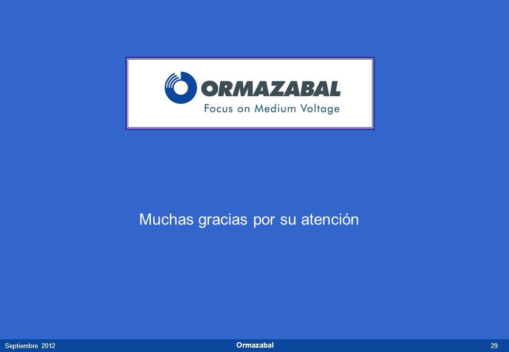 29Septiembre 2012 Ormazabal Muchas gracias por su atención