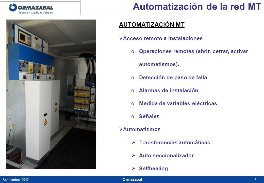 3Septiembre 2012 Ormazabal AUTOMATIZACIÓN MT Acceso remoto a instalaciones oOperaciones remotas (abrir, cerrar, activar automatismos). oDetección de p
