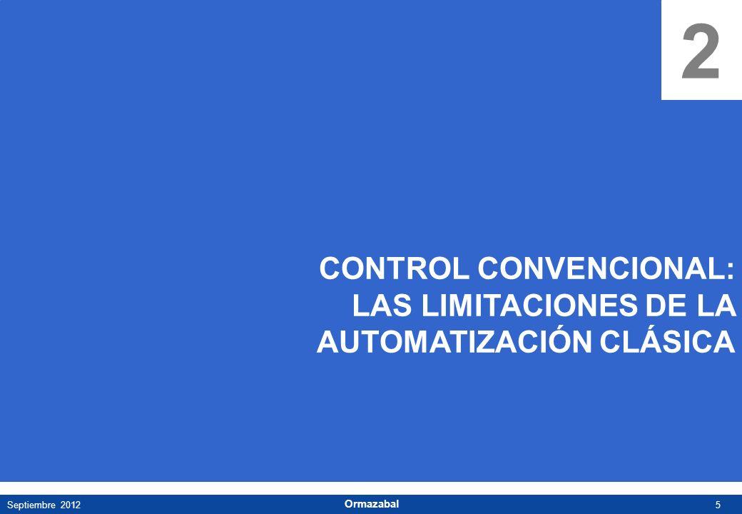 5Septiembre 2012 Ormazabal 2 CONTROL CONVENCIONAL: LAS LIMITACIONES DE LA AUTOMATIZACIÓN CLÁSICA