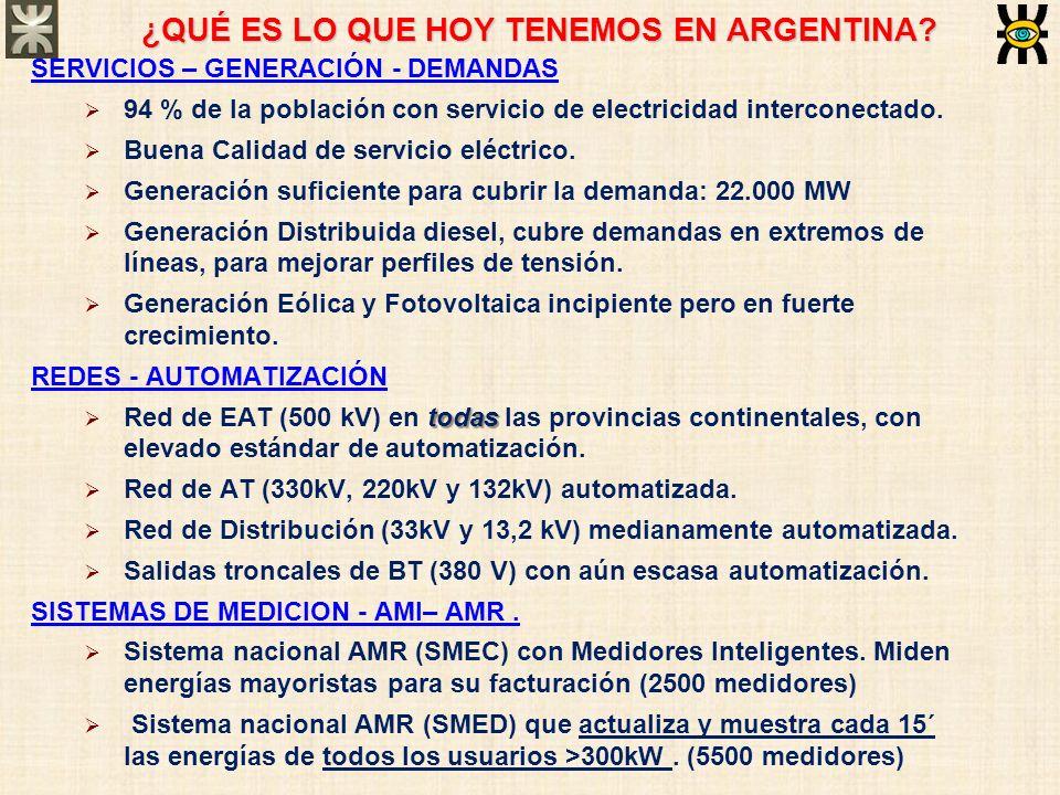 ¿QUÉ ES LO QUE HOY TENEMOS EN ARGENTINA? SERVICIOS – GENERACIÓN - DEMANDAS 94 % de la población con servicio de electricidad interconectado. Buena Cal