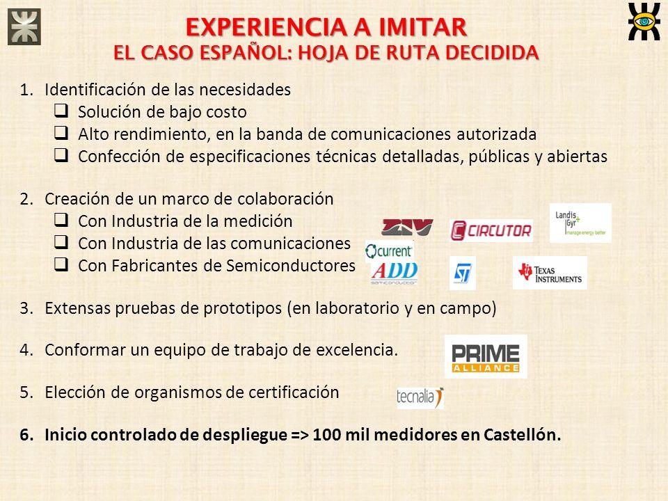 EXPERIENCIA A IMITAR EL CASO ESPAÑOL: HOJA DE RUTA DECIDIDA 1.Identificación de las necesidades Solución de bajo costo Alto rendimiento, en la banda d