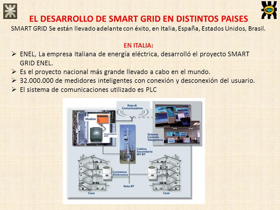 EL DESARROLLO DE SMART GRID EN DISTINTOS PAISES SMART GRID Se están llevado adelante con éxito, en Italia, España, Estados Unidos, Brasil. EN ITALIA: