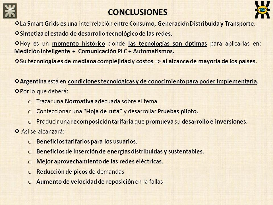 CONCLUSIONES La Smart Grids es una interrelación entre Consumo, Generación Distribuida y Transporte. Sintetiza el estado de desarrollo tecnológico de