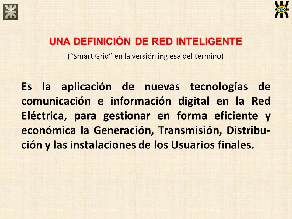 UNA DEFINICIÓN DE RED INTELIGENTE (Smart Grid en la versión inglesa del término) Es la aplicación de nuevas tecnologías de comunicación e información