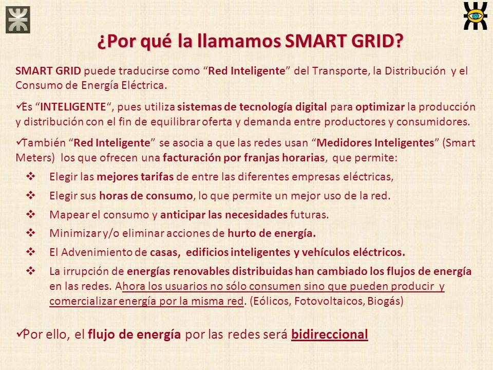 ¿Por qué la llamamos SMART GRID? SMART GRID puede traducirse como Red Inteligente del Transporte, la Distribución y el Consumo de Energía Eléctrica. E