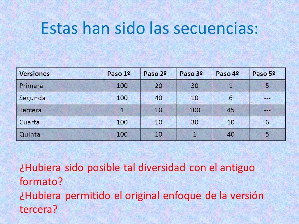 Estas han sido las secuencias: VersionesPaso 1ºPaso 2ºPaso 3ºPaso 4ºPaso 5º Primera100203015 Segunda10040106--- Tercera11010045--- Cuarta1001030106 Qu