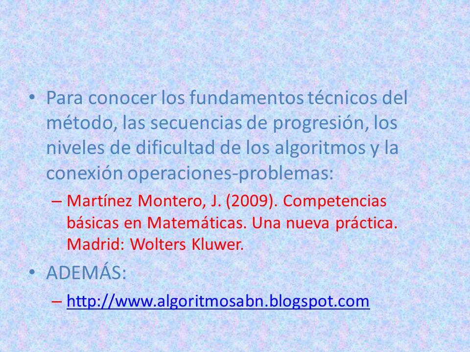 Para conocer los fundamentos técnicos del método, las secuencias de progresión, los niveles de dificultad de los algoritmos y la conexión operaciones-