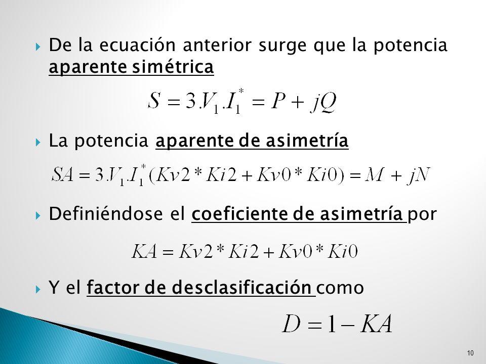 De la ecuación anterior surge que la potencia aparente simétrica La potencia aparente de asimetría Definiéndose el coeficiente de asimetría por Y el f