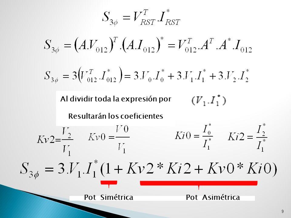 De la ecuación anterior surge que la potencia aparente simétrica La potencia aparente de asimetría Definiéndose el coeficiente de asimetría por Y el factor de desclasificación como 10