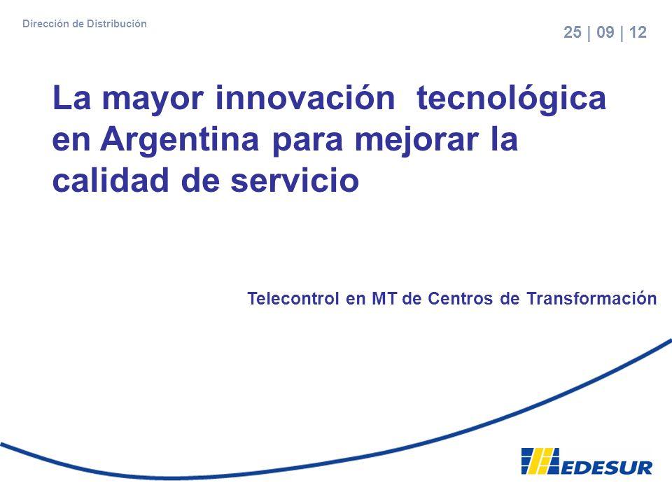 1 Telecontrol en MT de Centros de Transformación La mayor innovación tecnológica en Argentina para mejorar la calidad de servicio 25 | 09 | 12 Direcci
