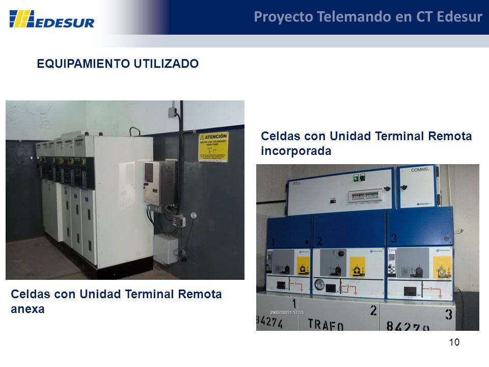 10 Proyecto Telemando en CT Edesur EQUIPAMIENTO UTILIZADO Celdas con Unidad Terminal Remota anexa Celdas con Unidad Terminal Remota incorporada